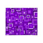 Purple Retro Squares Pattern Throw Blanket