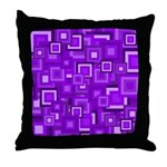 Purple Retro Squares Pattern Throw Pillow