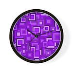 Purple Retro Squares Pattern Wall Clock
