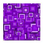 Purple Retro Squares Pattern Tile Coaster