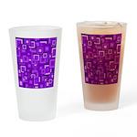 Purple Retro Squares Pattern Drinking Glass
