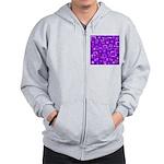 Purple Retro Squares Pattern Zip Hoodie