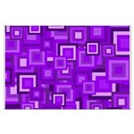 Purple Retro Squares Pattern Posters