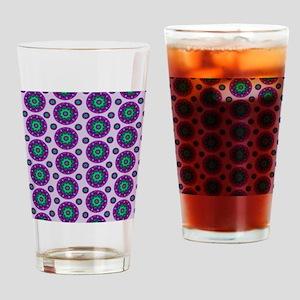 Purple Retro Mandala Pattern Drinking Glass