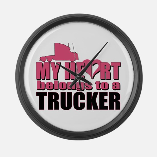 My Heart Belongs To A Trucker Large Wall Clock