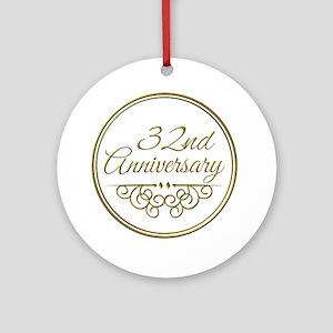 32nd Anniversary Ornament Round