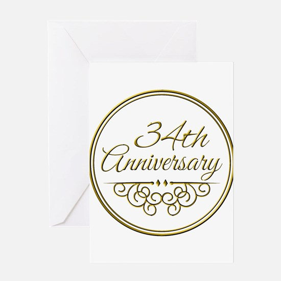 34th Anniversary Greeting Cards