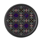 Retro Blue Fractal Pattern Large Wall Clock