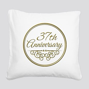 37th Anniversary Square Canvas Pillow