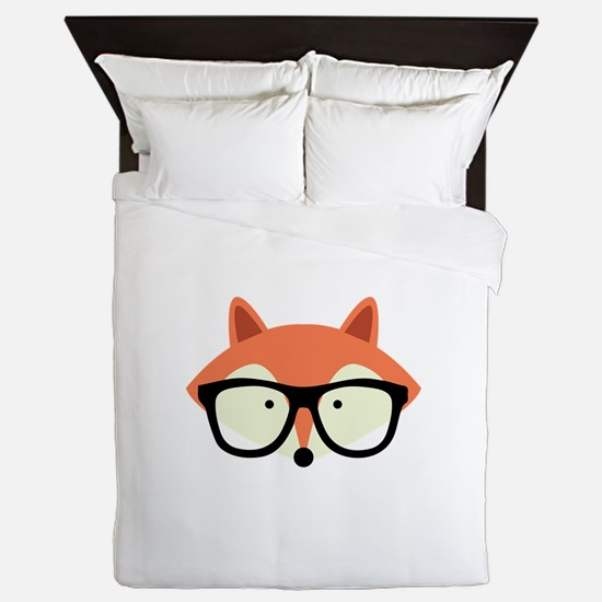 Hipster Red Fox Queen Duvet