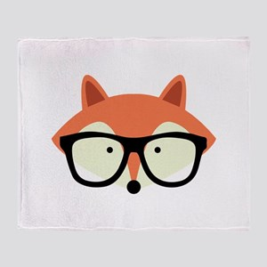 Hipster Red Fox Throw Blanket