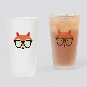 Hipster Red Fox Drinking Glass