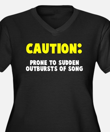 Caution Outbursts of Song Women's Plus Size V-Neck
