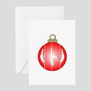Christmas Pole Dancer Greeting Cards