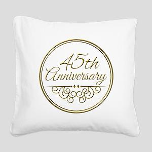 45th Anniversary Square Canvas Pillow