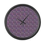Purple Pattern Fractal Art Large Wall Clock