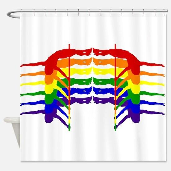 Pole Dancer Rainbow Shower Curtain
