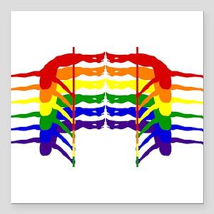 "Pole Dancer Rainbow Square Car Magnet 3"" x 3"""