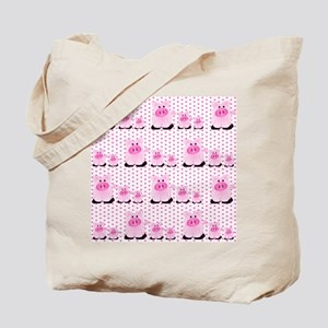 Adorable Country Pigs on Pink Hearts Tote Bag