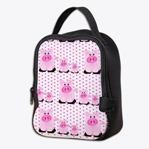 Adorable Country Pigs on Pink Hearts Neoprene Lunc