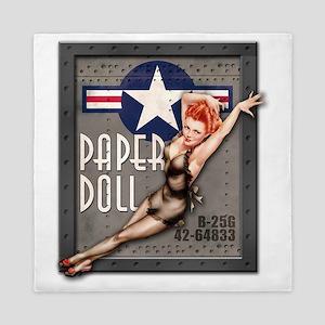 Paper Doll B-25 WWII Nose Art Queen Duvet