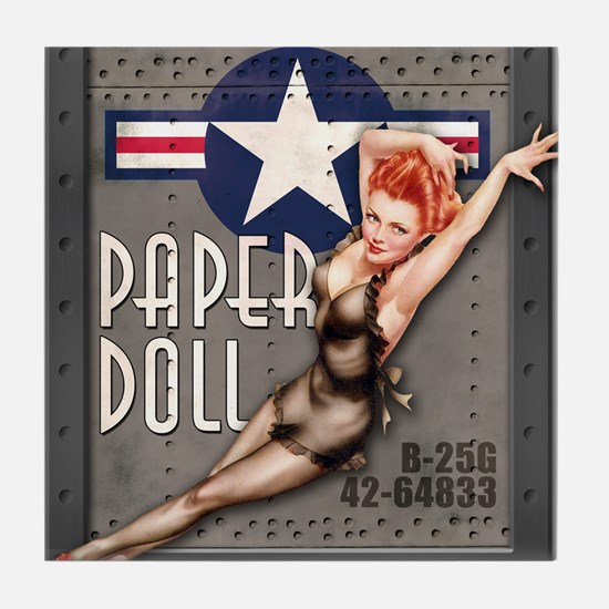Paper Doll B-25 WWII Nose Art Tile Coaster