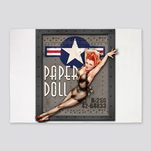 Paper Doll B-25 WWII Nose Art 5'x7'Area Rug