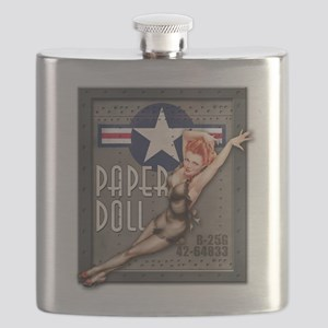 Paper Doll B-25 WWII Nose Art Flask