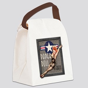 Paper Doll B-25 WWII Nose Art Canvas Lunch Bag