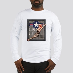 Paper Doll B-25 WWII Nose Art Long Sleeve T-Shirt