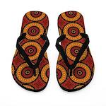 Orange and Yellow Retro Mandala Flip Flops