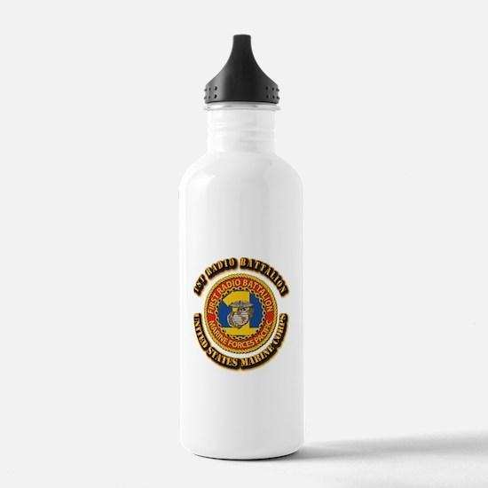 USMC - 1st Radio Battalion With text Water Bottle