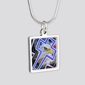 the Cross and the symbol Silver Square Necklace