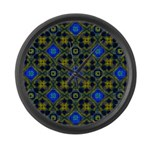 Blue and Yellow Fractal Pattern Large Wall Clock