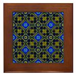 Blue and Yellow Fractal Pattern Framed Tile