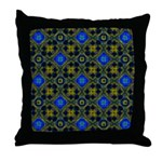 Blue and Yellow Fractal Pattern Throw Pillow