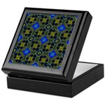Blue and Yellow Fractal Pattern Keepsake Box