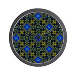 Blue and Yellow Fractal Pattern Wall Clock