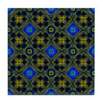 Blue and Yellow Fractal Pattern Tile Coaster