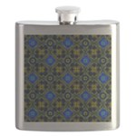 Blue and Yellow Fractal Pattern Flask