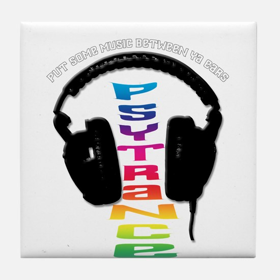 psytrance headphones Tile Coaster