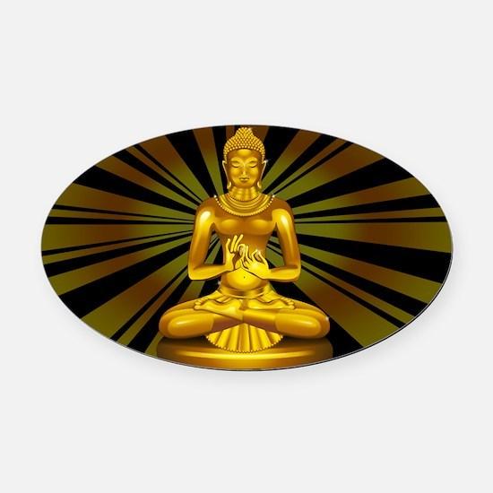 Buddha Siddhartha Gautama Golden Statue Oval Car M