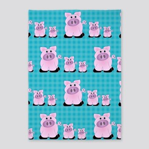 Country Pigs on Aqua Checks 5'x7'Area Rug