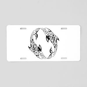 Dolphin Tribal Tattoo Aluminum License Plate