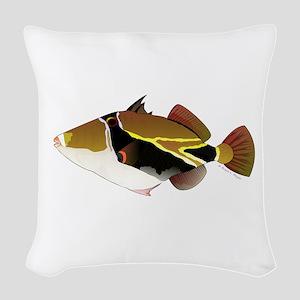 Reef Triggerfish Humuhumu Woven Throw Pillow