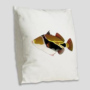 Reef Triggerfish Humuhumu Burlap Throw Pillow
