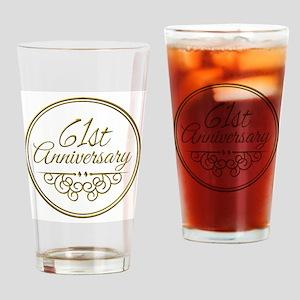 61st Anniversary Drinking Glass