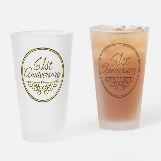 61st Anniversary Drinking Glass