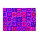 Pink and Purple Flower Pattern 5'x7'Area Rug