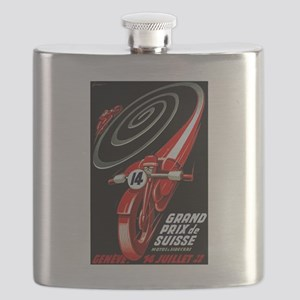 1946 Swiss Grand Prix Motorcycle Race Poster Flask